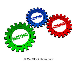 assistance, support, guidance - business concept words in 3d color gearwheels