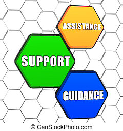 assistance, support, guidance in colorful hexagons
