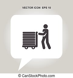 assistance with luggage vector icon