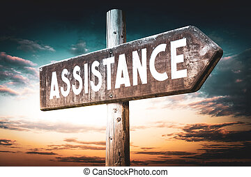 Assistance - wooden signpost, roadsign with one arrow
