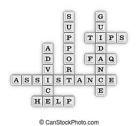 assistancen, råd, understøttelse, vejledning, faq, drikkepengene, hjælp, krydsord, puzzle.