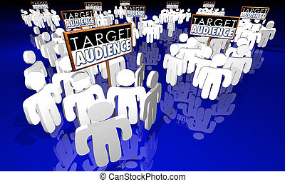 assistances cible, clients, base, signes, groupes, 3d, illustration