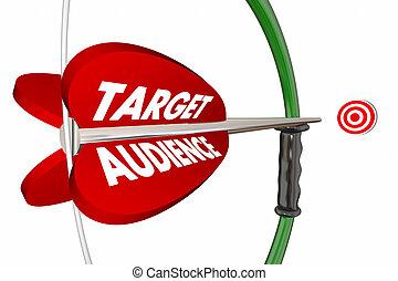 assistances cible, clients, groupe, arc, flèche, 3d, illustration