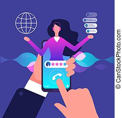 Assistant app. Hotline customer service. Internet adviser talk to client. Virtual support and mobile assistance vector concept