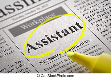 Assistant Jobs in Newspaper. Job Search Concept.