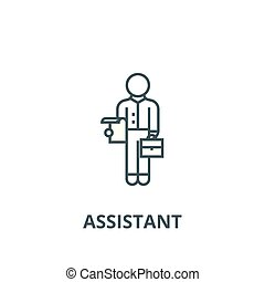 Assistant line icon, vector. Assistant outline sign, concept symbol, flat illustration