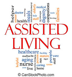 Assisted Living Word Cloud Concept with great terms such as health, care, elderly, help, tender, needs, nursing and more