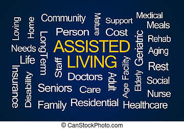Assisted Living Word Cloud on Blue Background