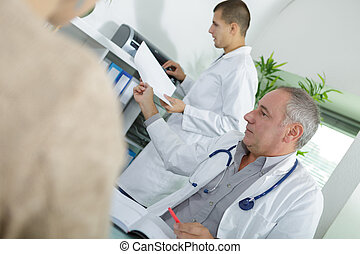 assistent, beratungsgespräch, hintergrund, doktor