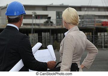 assistent, bouwsector, zijn, bouwterrein, zakenman