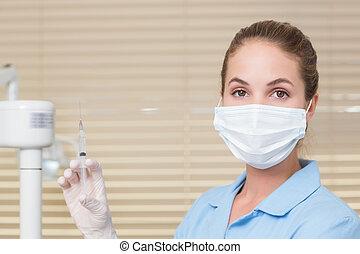 assistent, dental, schauen, fotoapperat, besitz, spritze