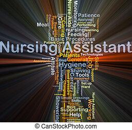 assistent, glühen, begriff, krankenpflege, hintergrund