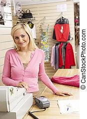 assistent, lager, beklädnad, försäljningarna, kvinnlig