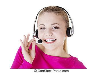 assistent, le, call-center, ung