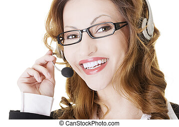 assistent, le, call-center, vacker