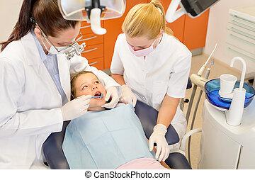 assistent, litet, tandläkare, dental, barn