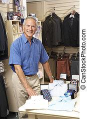 assistent, manlig, beklädnad, försäljningarna, lager