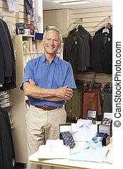 Assistent, Mann, kleidung, Verkäufe, kaufmannsladen