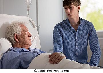 assistent, senior, geduldige zorg