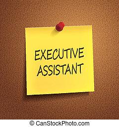 assistent, uitvoerend, woorden, post-it