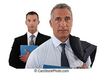 assistent, zijn, het poseren, samen, zakenman