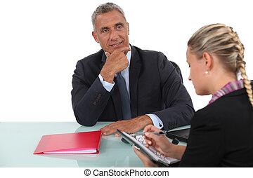 assistent, zijn, vergadering, zakenman