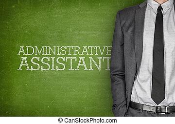 assistente, administrativo, quadro-negro