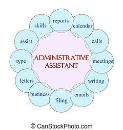 assistente, conceito, administrativo, palavra, circular