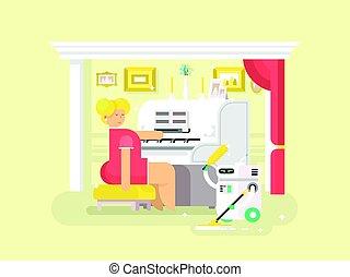 assistente, housework, robô