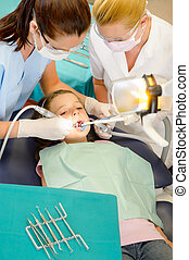 assistente, odontólogo, paciente, criança