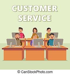 assistenza clienti, assistenza tecnica, illustrazione, squadra