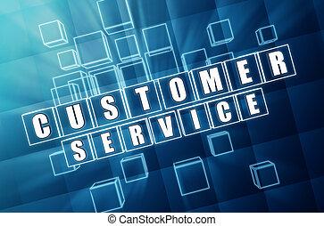 assistenza clienti, in, vetro blu, cubi
