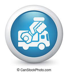 assistenza, concetto, furgone, icona