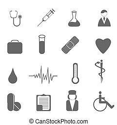 assistenza sanitaria, e, simboli medici