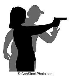 assistere, donna, sparo, fucile, mano, serie, istruttore,...