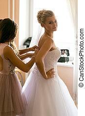 assistere, madre, sposa, mettere, abito nunziale