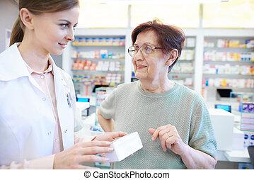 Assistieren, frau, apotheker, Älter, weibliche