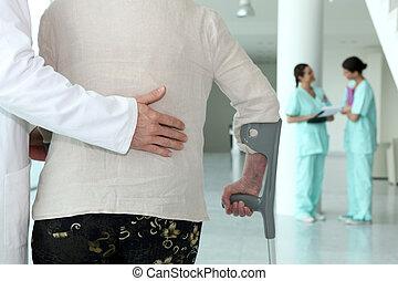 assistieren, patient, älter, doktor