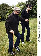 assistieren, und, portion, ältere leute