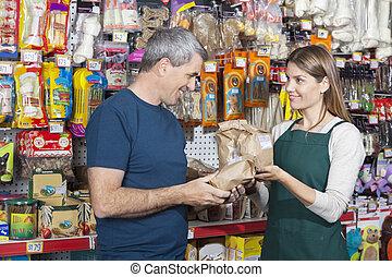 Assistieren, verkäuferin, Haustier, Lebensmittel, Kaufen, Mann