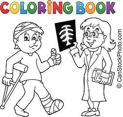 assistindo, coloração, paciente, livro, doutor