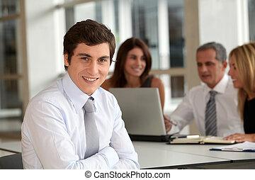 assistindo, trabalhador, escritório, reunião negócio