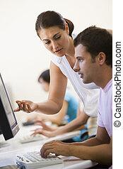 assisting, женщина, компьютер, комната, человек