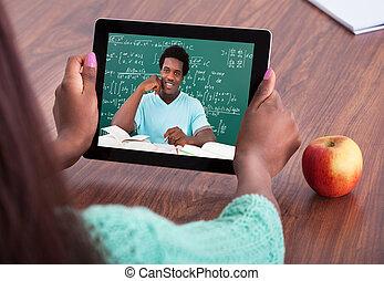 assisting, через, студент, видео, учитель, conferencing