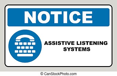 Assistive listening systems sign. Medical consultration sign. White icon on blue sign as background. Isolated on white. Vector illustration
