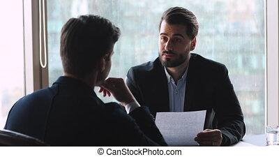 associé, accord, homme affaires, réunion, poignée main,...