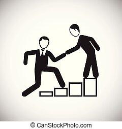 associé, coworking, blanc, aide, fond