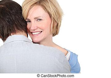 associé, femme, elle, embrasser