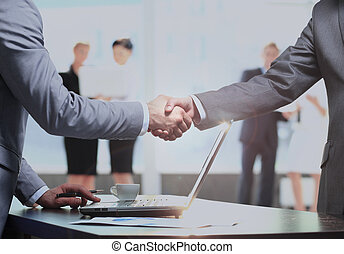 associé, homme, secousse,  Business, main