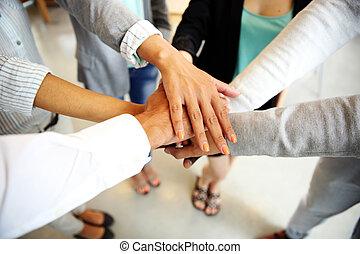 associando, comércio pessoas, mãos